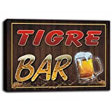 scw3-094615 TIGRE Name Home Bar Pub Beer Mugs Cheers Stretched Canvas Print Sign