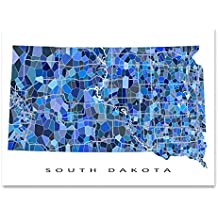 South Dakota Map Print, SD State Wall Art Decor, Blue