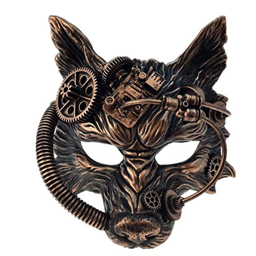 Storm Buy] Steampunk Wolf Metallic Mask Mad Scientist Time Traveler Animal Masquerade Halloween Costume Cosplay Party mask (Metallic Copper)]()