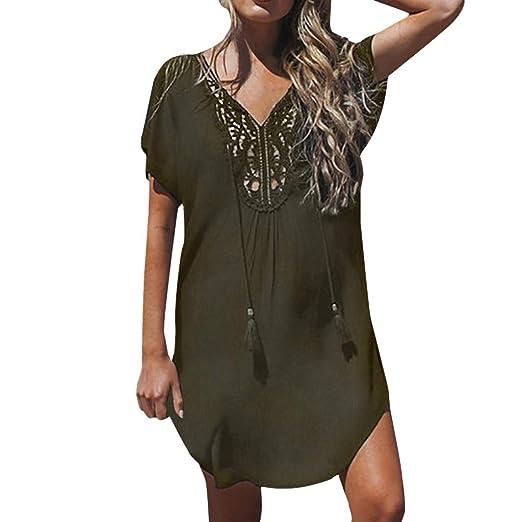 ee7b2ff0c7cd kemilove Women Lace Stitching Mini Dress Deep V-Neck Summer Fashion Beach  Dress Army Green