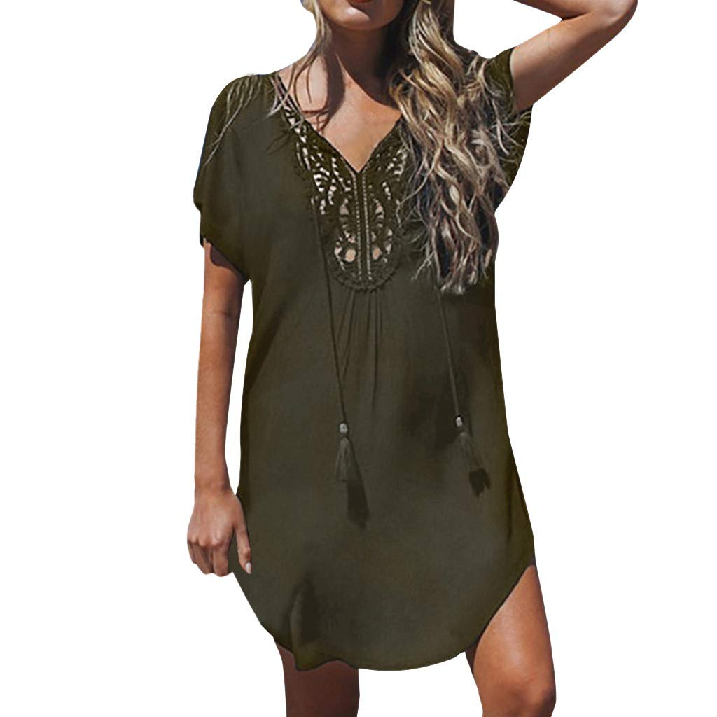 Mlide Women's Short Sleeve Pleated Loose Swing Casual Dress Knee Length Lace Stitching Deep V-neck Mini Dress,Army Green S