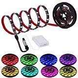 Led Strip Lights Battery Powered, RGB LED Lights Strip Battery Operated Led Battery Lights with 3 Keys Controller Battery Led Strip Rope Lights, 2M/6.54ft