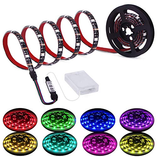 Led Strip Lights Battery Powered, RGB LED Lights Strip Battery Operated Led Battery Lights with 3 Keys Controller Battery Led Strip Rope Lights, 2M/6.54ft -