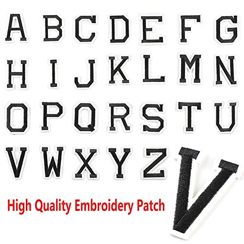 Letter Iron On Patches 26 Piece Alphabet Applique Patches Sew On Embroidered Patches Black A-Z Letter Badge Decorative Repair Patches for Hats Shoes Jackets Clothing Dress