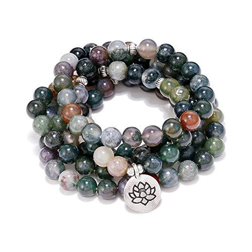 (8MM 108 Mala Beads Charm Bracelet Men Women Yoga Bracelet Necklace (H.Silver-Toned Pendant Blue Multicolored))