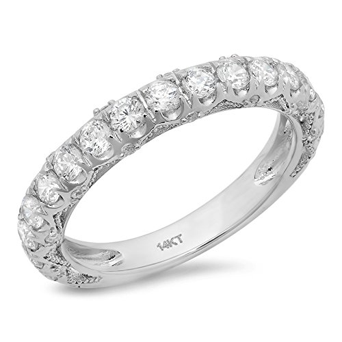 3.4 Ct Round Cut Pave Set Bridal Wedding Engagement Anniversary Band Ring 14K White Gold, Size 6, Clara Pucci (Six Prong Pave Set)