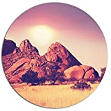 Designart ''Rocky Hills and Grassland in Africa Landscape Circle'' Wall Art, 38 x 38'', Purple
