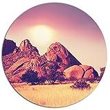 Designart ''Rocky Hills and Grassland in Africa Landscape Circle'' Wall Art, 38 x 38'', Purple