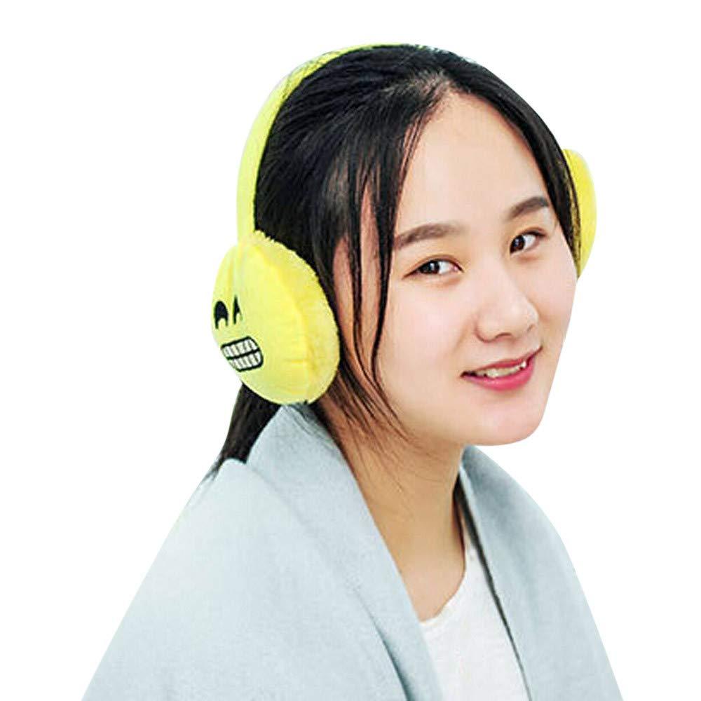 Unisex Emoji Plush Earmuffs Colorful Rabbit Ears Winter Warm Cute Warmers (F)