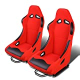 Set of 2 Universal Fabric Fixed Position Bucket Racing Seats w/ Sliders (Black/Red)