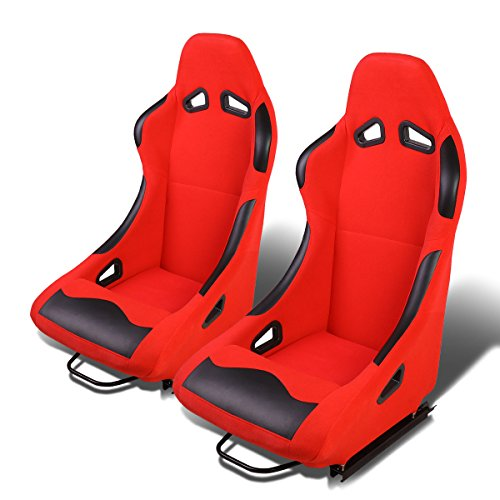 Universal Racing Spec - Set of 2 Universal Fabric Fixed Position Bucket Racing Seats w/Sliders (Black/Red)