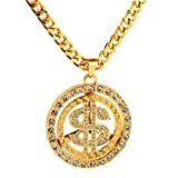 HZMAN Mens 18k Real Gold Plated Dollar Sign hip hop Pendant Necklace,Cz Inlay,with FREE Cuban Chain 30""