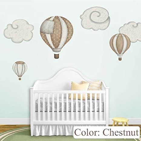 Amazon.com: My Wonderful Walls Hot Air Balloon Decals And Cloud Wall  Stickers For Baby Room Nursery, Chestnut: Home U0026 Kitchen