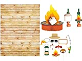 Camp Out Happy Birthday Party Supplies Kit Camping Themed Party Favors, Photo Backdrop, Photo Booth Props & Campfire Centerpiece Decoration