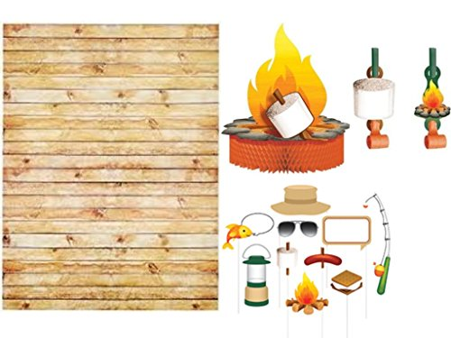 Camp Out Happy Birthday Party Supplies Kit Camping Themed Party Favors, Photo Backdrop, Photo Booth Props & Campfire Centerpiece Decoration by Party Creations