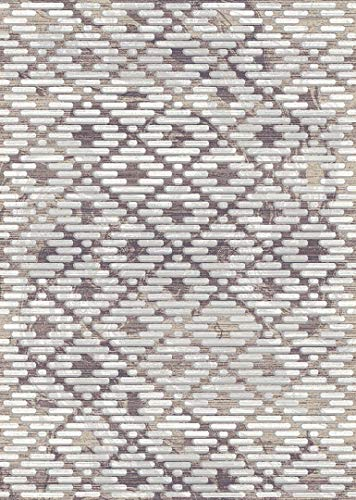 PlanetRugs Symphony Area Rug (5'2'' X 7'6'') Design 27010 Taupe Ivory Cream Beige Trellis Moroccan Modern Geometric Wavy Lines Contemporary for Bedroom, Living Room, Dining (Symphony Taupe Rug)