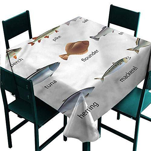 DONEECKL Wrinkle Resistant Tablecloth Fish Aquatic Animal Collection and Durable W50 xL50