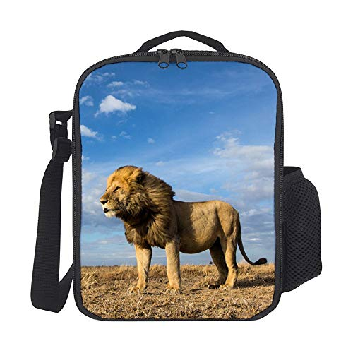 Lunch Box Lions (SARA NELL Kids Lunch Backpack Lunch Box Fierce Lion Blue Sky Lunch Bag Large Lunch Boxes Cooler Meal Prep Lunch Tote With Shoulder Strap For Boys Girls Teens Women Adults)