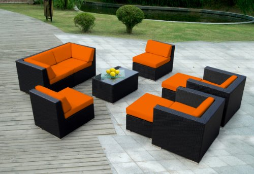 Genuine Ohana Outdoor Patio Sofa Sectional Wicker Furniture 9pc Gorgeous Couch Set with Free Patio Cover