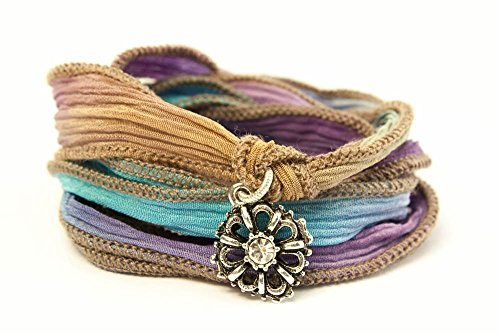 Crystal Wildflower Jewelry Wrap Bracelet - Ribbon Color: BERRY LIME 222