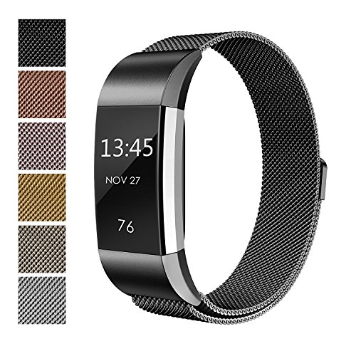 Fitbit Charge 2 Bands Metal, Akale Milanese Loop Stainless Steel Metal Bracelet Strap with Unique Magnet Lock, No Buckle Needed for Fitbit Charge 2 HR Fitness Tracker Black