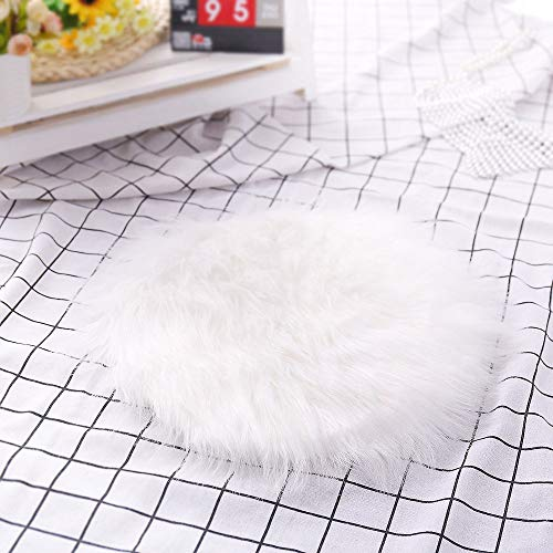 Faux Fur Sheepskin Round Rug Runner Shag Chair Couch Cover Ultra-Soft Throw Rug Fluffy Sheepskin Carpet for Bedroom Floor Sofa Living Room Home Decorative Floor Mat Small 11 Inch from charmsamx
