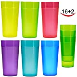 20 oz Plastic Tumblers, Cafe Break-Resistant Drinking Glasses, Restaurant-Quality Shatterproof Beverage Tumblers, Set of 18 in 6 Assorted Colors
