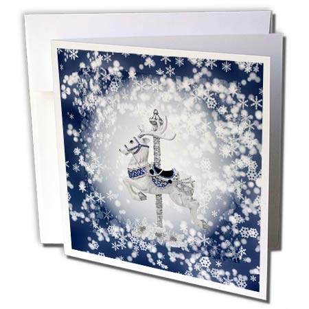 (3dRose Beverly Turner Christmas Design - Carousel Reindeer White Poinsettia Accents, Snowflakes, Blue and White - 6 Greeting Cards with envelopes (gc_299619_1))