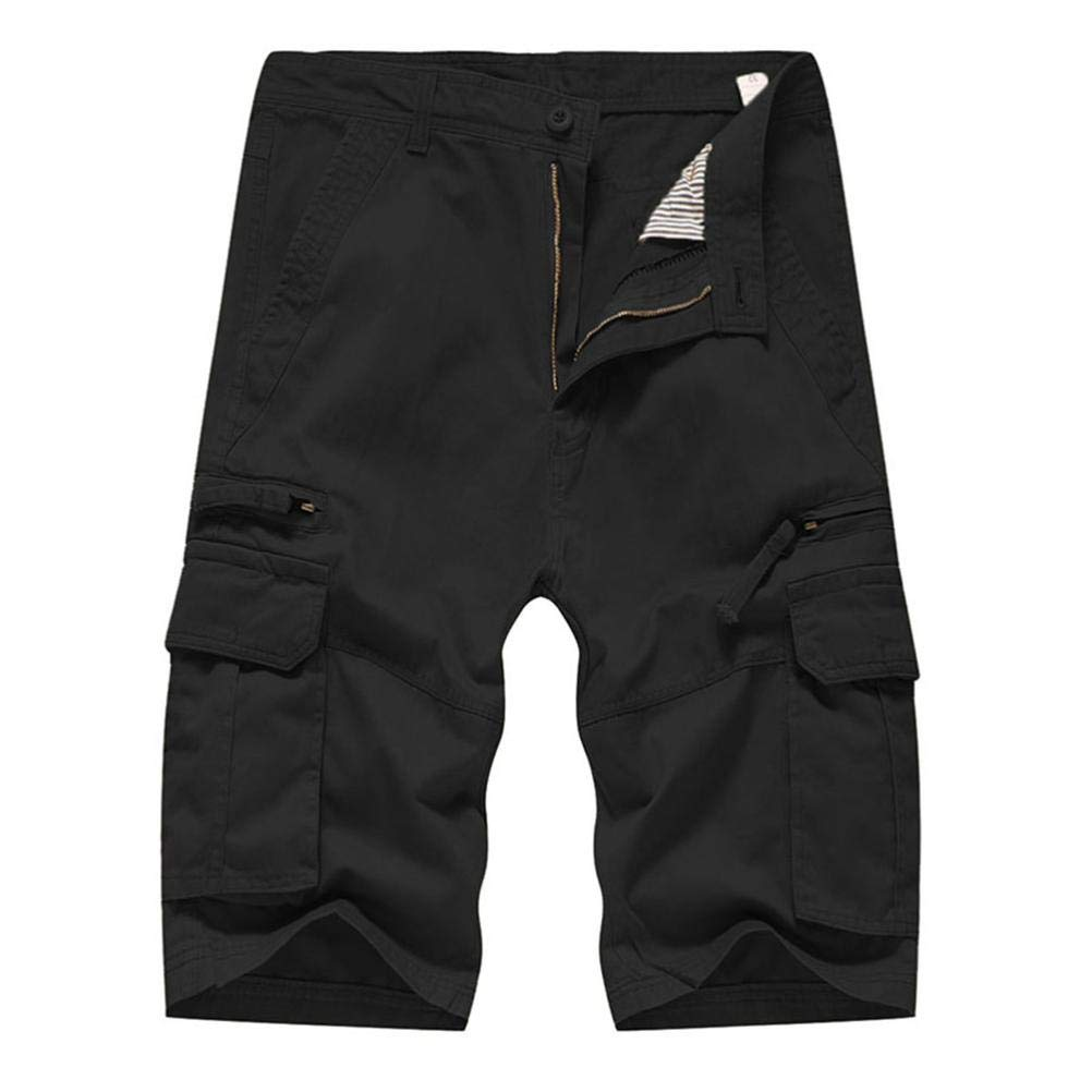 Discount Season Multi-Pockets Casual Cargo Shorts Pants Men Relaxed Fit Solid Outdoors Work Trousers