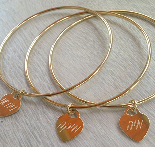 Personal bangle bracelet, tiffany bangle bracelet, engraved heart bracelet, engraved names bracelet, engraved bangle bracelet, new mom gift