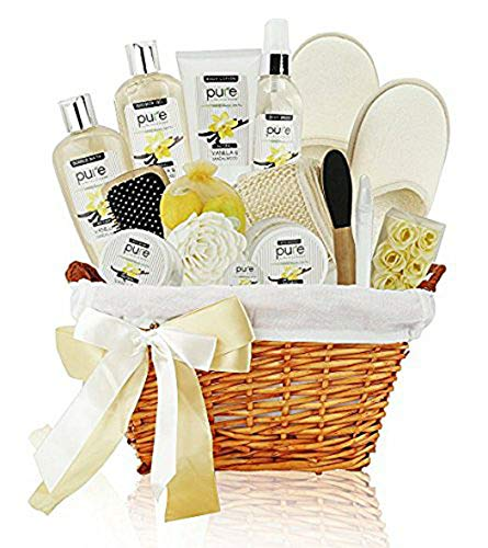 Premium XL Deluxe Bath & Body Basket. Sandalwood Vanilla Aromatherapy Spa Basket for Him & Her. Gift Basket for Men & Women with Bath Bombs! Best Mothers Day Gift -Husband, Wife, Boyfriend, Girlfriend