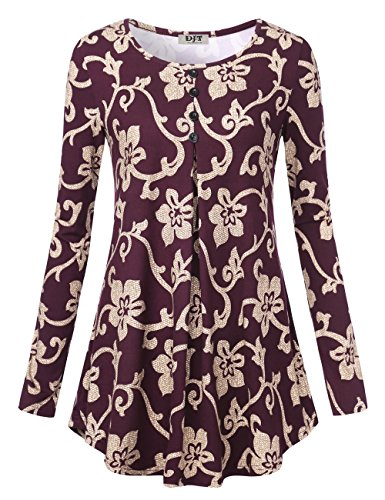 Long Sleeve Tunic For Women, DJT Women's Crewneck Pleated Floral Shirts Flared Casual Tunic Tops Purple Floral (Purple Floral Shirt)