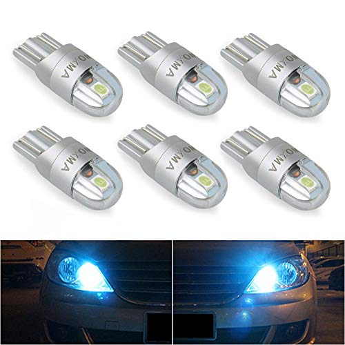 Crystal Wedge - T10 LED Bulbs Extremely Bright 3030 Chipset 194 168 SMD W5W LED Wedge Light 1.5W 12V License Plate Light Turn Light Signal Light Trunk Lamp Clearance Lights Reading lamp (6pcs, crystal blue)