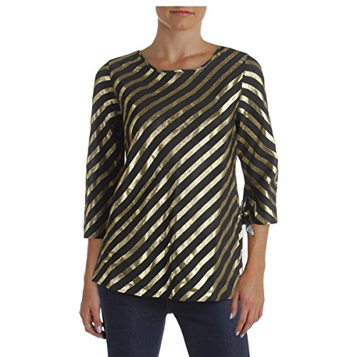 Metallic Silk Blouse - Scotch & Soda Womens Silk Metallic Blouse Black M