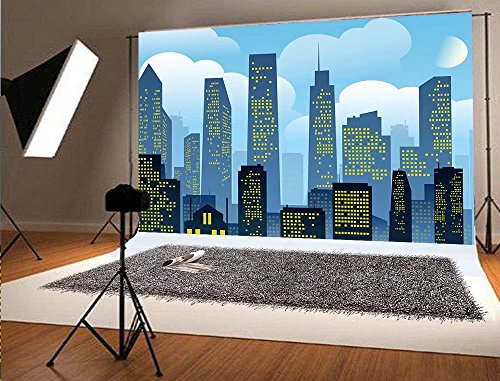 7x5ft Super City Photo Studio Photography Background Blue Sky for Children Backdrop -