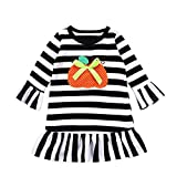 Kids Halloween Outfits Set, Familizo New Toddler Baby Girls Dress Pumpkin Cartoon Print Stripe Dresses Halloween Outfits Best Gifts for Home Garden Holiday