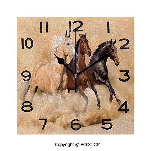Frameless Clock 3D DIY Decorative Clock Three Horse Running In Desert Storm Mythical Mystic Messenger Animals Habitat Print 8 Inch Large Size Square Wall Clock for Living Room Bedroom Office Hotel