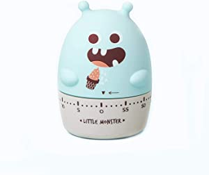 Red Dollar 100% Mechanical Cute Kitchen Timer, 60-Minute Wind Up Dial Rotating Countdown Reminder, No Batteries Loud Ring, Cute Time Management for Cooking Father's Day Birthday