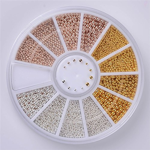 1 Set Steel Beads Studs Gold Sliver Champagne Nail Art Wheel 3D Mixed 0.8mm 1.0mm 1.2mm 1.5mm DIY Manicure Nails Tool Tips Kits Heavenly Popular Xmas Christmas Winter Snow Holiday Tools Kit Gold 1 Mm Machine