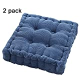 youta Solid Home Floor Cushion Papasan Patio Wicker Seat Cushion Square 20 Inch Set of 2 Indoor/Outdoor Navy Blue