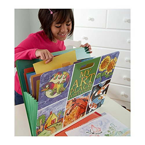 Portfolio Hearth - HearthSong My My Art Place Portfolio with Handles- 8 Expandable Coded Accordion Files for Organizing Children's Artwork-19 H x 15.25 W, Multi-Colored