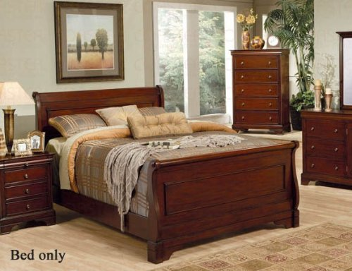 Coaster Queen Size Sleigh Bed Louis Philippe Style in Mahogany (Louis Philippe Queen Bed)