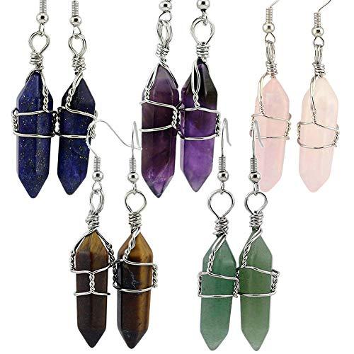 e Wrapped Real Healing Amethyst Quartz Crystal Earrings Eardrop, Hexagonal Pointed (Amethyst, Rose Quartz, Lapis, Aventurine, Tiger Eye Stone) ()