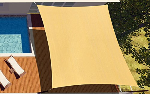 diig 16' x 20' Rectangle Sun Shade Sail Canopy, Patio Shade Cloth Outdoor Cover - UV Resistant Sunshade Fabric Awning Shelter for Backyard Swimming Garden Yard (Sand Color)