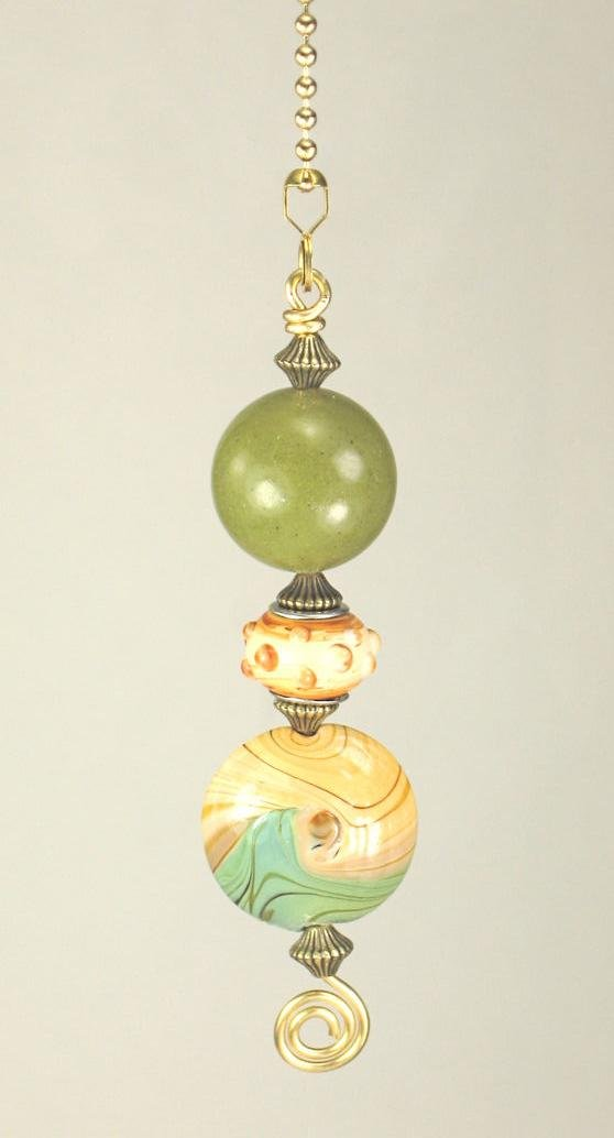 Arts & Crafts Lampwork Glass Natural Earthen Green Ceiling Fan Pull