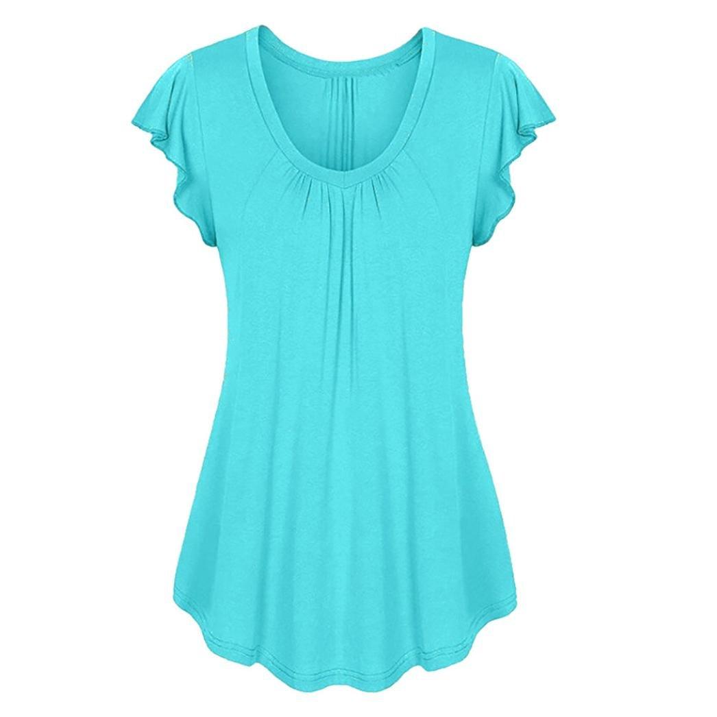 ESAILQ Frauen Solide Reihe Falten Rüschen Geraffte Oansatz Kurzarm Unregelmäßige T-Shirt