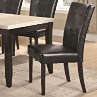 Anisa 102772 41 Dining Side Chair with Stitched Detailing Button Tufting and Tapered Legs in Cappuccino