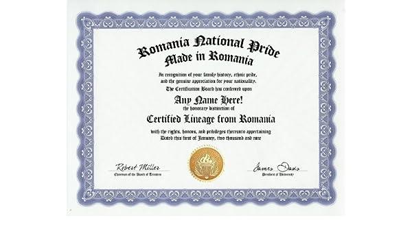Amazon com: Romania Romanian National Pride Certification