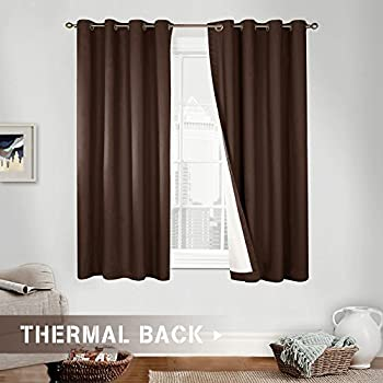 Superior Blackout Curtains For Bedroom Brown 63 Inch Long, Grommet Top, One Panel