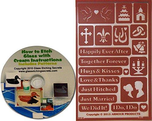 [해외]결혼 후 행복한 해피, 결혼 유리 에칭 스텐실 + 무료 CD로 전자 책하는 법/Happy Ever After Wedding, Marriage Glass Etching Stencils + Free How to eBook on CD